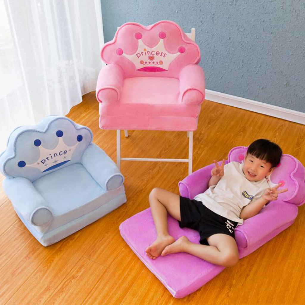 Soft Plush Kids Foldable Sofa Backrest Chair Cover Children Folding Lounger Couch Cover Replacement Cartoon Animal Shape