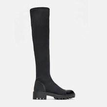 2019 schlank Stretch Lycra Knie Hohe Stiefel Plattform Winter Stiefel Frauen Lange Stiefel Winter Schuhe Frauen Socke Stiefel Über die knie Stiefel(China)