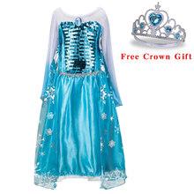 Платье для маленьких девочек с короной; карнавальный костюм Анны и Эльзы на Рождество; летнее платье принцессы для девочек на День рождения;...(China)