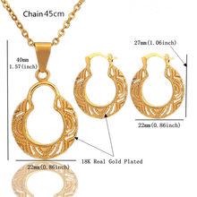 2019 braut Gold Schmuck Sets Herz Hoop Ohrringe Für Frauen Hochzeit Schmuck Mit Anhänger Halskette Set(China)