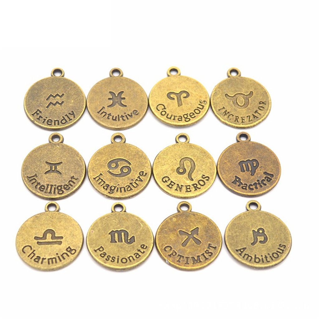 24 Pcs Mixed HOROSCOPE 12 Zodiac SIGN DIY Pendant Charms Bracelets Necklace For Jewelry Making Craft