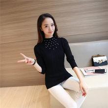 Hot verkoop nieuwe 2019 herfst-winter alle-match slanke trui vrouwen bovenkleding coltrui vrouwen trui(China)
