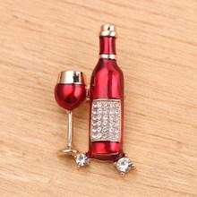 Merah Anggur Piala Botol Anggur Bentuk Bros untuk Wanita Pria Pelayan Pakaian Kerah Pin Dekorasi Resepsionis Klub Lencana Aksesoris(China)