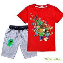 Ragazzi T-Shirt Bambini di Estate Magliette e camicette Abbigliamento In Cotone Minecrafted Manica Corta T Camicette Bambini Ragazze Bianche Tee Bambino 3-15Years Del Bambino(China)