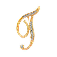 Itenice 2019 nova moda jóias clássico 26 letras broches metal cor ouro cristal pinos acessórios de roupas para mulher(China)