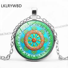 Vintage Buddhism Six-word Mantra New Creative Silver Bronze Black Metal Glass Pendant Necklace Fashion Pop Jewelry(China)