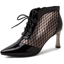 Doratasia 2020 hakiki deri cilt bayanlar yüksek topuklar örgü ayakkabı bağcığı kadın ayakkabı bileğe kadar bot sandalet kadın(China)