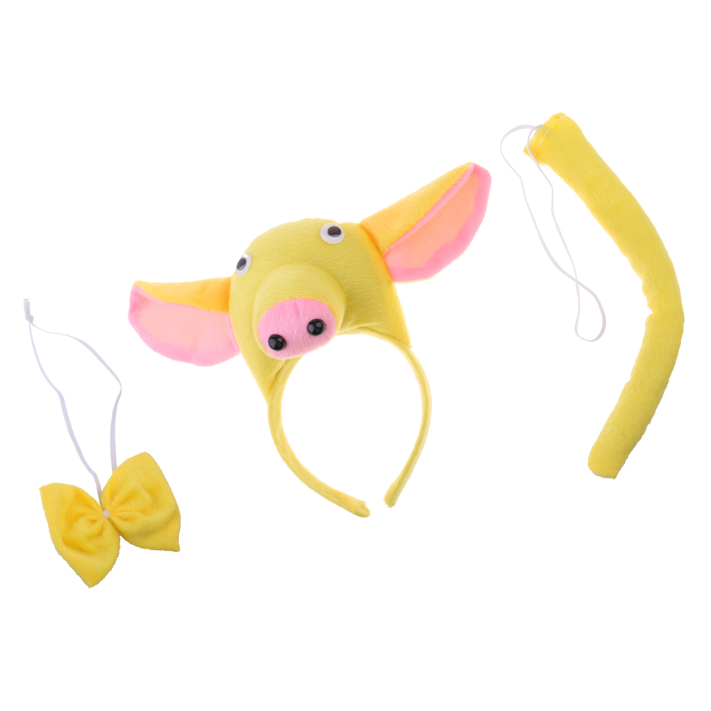 Animal Pig Costume Head Band Bow Tie Tail Zoo Piggy Fancy Dress Accessories