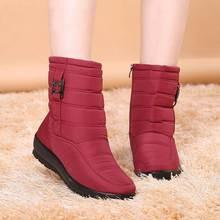 Ủng Nữ Giày Nữ 2019 Chắc Chắn Giày Người Phụ Nữ Mùa Đông Dây Kéo Cổ Chân Giày Nữ Lông Ấm Áp Mũi Tròn Giày Bốt Nữ botas Mujer(China)