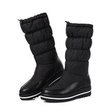 Kış deri sıcak botlar moda rahat alt pamuklu ayakkabılar siyah çizmeler platform çizmeler kar botu kadın(China)