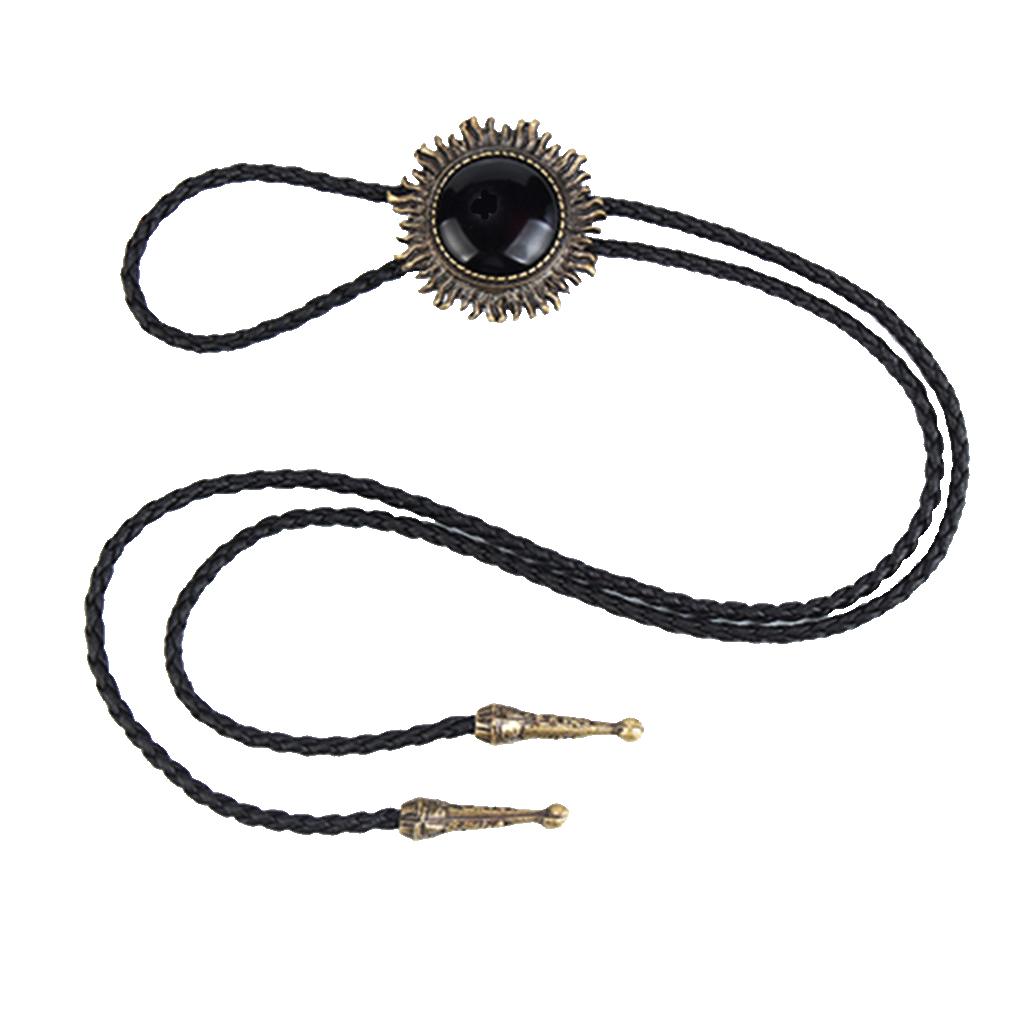 Vintage Antique Bronze Sunflower Black Stone Western Cowboy Bolo Tie Necktie