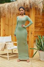 2019 vestido Sexy de mujer elegante cuello redondo sin mangas Delgado Maxi vestido alto elástico tanque bata Primavera Verano Delgado Vestidos largos(China)
