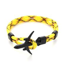 Moda samolot kotwica bransoletki dla kobiet mężczyzn urok Rope Chain Paracord sił powietrznych styl Wrap bransoletka biżuteria Pulseras hombres(China)