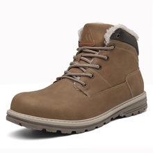 Erkekler için kış çizmeler kar botları açık deri kürk yarım çizmeler erkekler iş ayakkabısı düz ayakkabı moda patik Zapatos de Hombre(China)