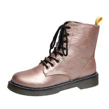 Fujin Size 36-41 Chun Xe Máy Cho Nữ Thu Đông 2020 Nữ Mùa Đông Giày Bốt Thời Trang Giày Mũi Tròn Phối Ren -Lên Chiến Đấu Giày(China)