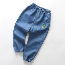 Ilkbahar sonbahar erkek pantolon çocuk kot erkek yaz sivrisinek geçirmez pantolon kızlar karikatür işlemeli ince kot 2-10Y çocuk pantolon(China)