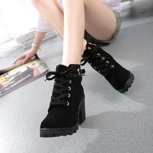 # H30 çizmeler kadın moda yüksek topuk ayak bileği bağcığı botları bayan toka platformu suni deri kadın ayakkabı zapatos de mujer(China)