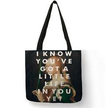 B13046 eco saco de compras reutilizável provérbio inglês no famoso paitning impressão feminino senhora bolsas grandes totes(China)