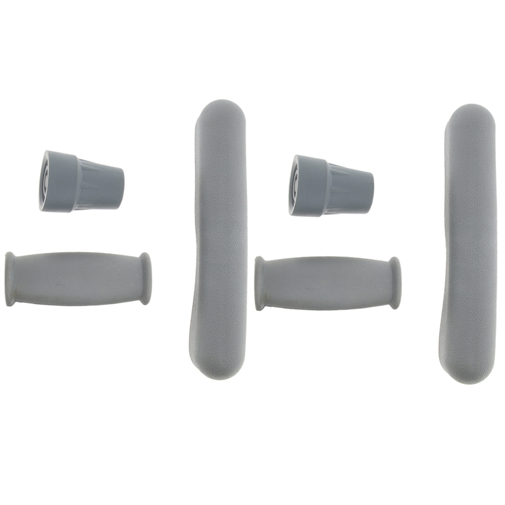 2 Kits of Crutch Accessory Kit Pads Replacement, Anti Slip Rubber Underarm Cushions, Hand Grips, and Crutches Tips Feet Caps
