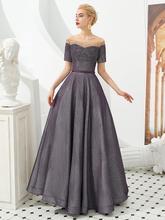 אפור אלגנטי תחרה ארוכה שמלת ערב סירת צוואר שרוכים חזרה 2020 חדש Fomal נשי ערב לנשף שמלות Robe de soiree לונג(China)