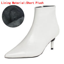 2018 סתיו וחורף סגנון חדש עם בסדר מחודדת גבוהה עקבים מרטין מגפי לבן מגפי עור מגפי נשים של מגפיים אביב wedgie(China)