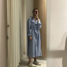 [EWQ] lazer manga longa de Babados costura solta camisa branca estilo coréia do vestido ruffles vestidos ladies outono nova 2019 QK95300(China)