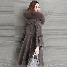 Abrigo de piel Real Abrigo de lana de pelo de oveja chaqueta de invierno Mujer cuello de piel de zorro chaquetas de forro de gamuza de talla grande Abrigo Mujer Y1954(China)