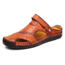 Nieuwe Lederen Mannen Sandalen Schoenen Zomer Strand mannen Sandalen Hoge Kwaliteit Sandalen Slippers Bohemen Big Size 38- 48(China)