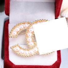 Della signora argento spille in oro e spilla di cristallo del rhinestone dell'annata cc spille pin canale spilla pins grande broche per le donne(China)