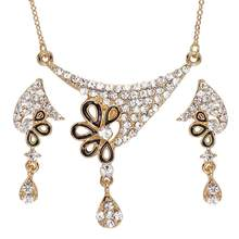 Dubai Afrikanische Perlen Schmuck Set Für Frauen Goldene Überzogene Legierung Klassische Partei Schmuck Gracets Kristall Halskette Ohrringe Sets(China)