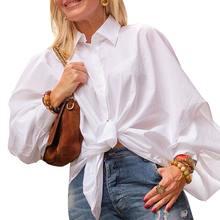 Celmia, женская модная офисная блуза, осень 2019, длинный рукав с буфами, повседневные свободные топы, рубашки, одноцветные женские блузы больших ...(China)