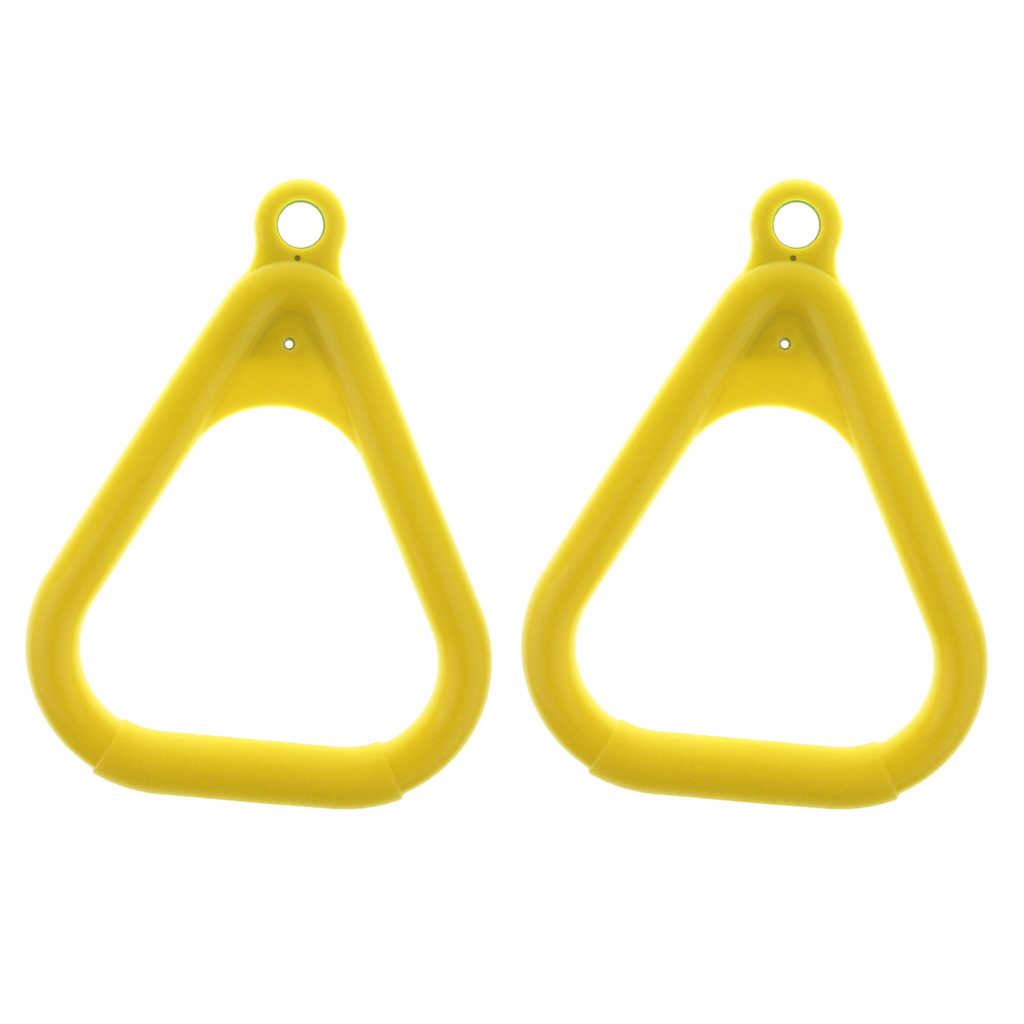2pieces Outdoor Triangular Gym Rings Trapeze Swing DIY Kits For Kids Yellow