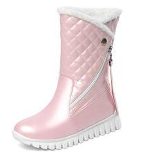 Sgesvier artı boyutu 29-45 beyaz siyah pembe Faux kürk saçak platformu kış ayakkabı kadın peluş sıcak orta buzağı kar botları Bootie(China)