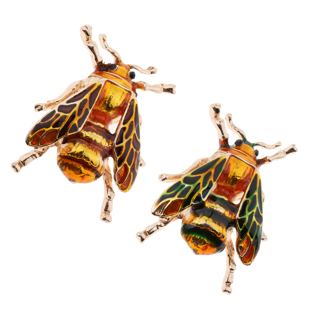 Fashion Crystal Enamel Brooch Pin, Bee Beetle Insect Collar Brooch Pin, Suit Hats Scarf Costume Jewelry