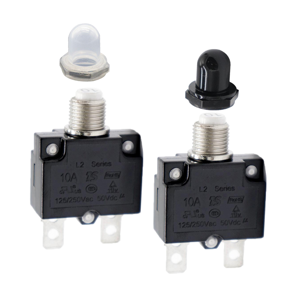 Pack of 2 10 Amp Circuit Breaker Push-Button Reset with Quick Connect Terminals and Waterproof Button Covers (Black & White)