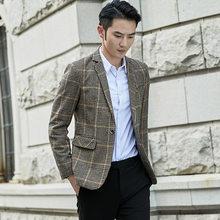 Клетчатый блейзер для мужчин, блейзер в английском стиле, повседневная куртка для свадебного платья, деловая уличная куртка, костюм Este Homme, ...(China)