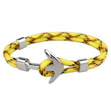 Gorąca sprzedaż bransoletki dla par moda stop kotwica bransoletki bransoletki pleciona lina poliestrowa bransoletki dla kobiet mężczyzn prezenty(China)
