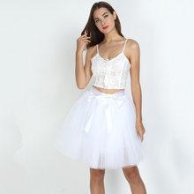 Юбка-пачка из тюля, 7 слоев, 50 см, Женская юбка с высокой талией, бальное платье, Нижняя юбка, сетчатая летняя юбка миди, Faldas Saias Jupe(China)