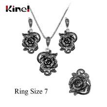 Kinel חם גריי קריסטל ורדים תכשיטי סט לנשים טיבטי כסף טבעת שרשרת עגילי צמיד Vintage חתונת תכשיטים(China)
