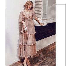 זה Yiiya שמלה לנשף בציר קצר שרוול V-צוואר שכבות בתוספת גודל Vestidos דה גאלה LF221 נצנצים אונליין שמלות נשף 2019(China)