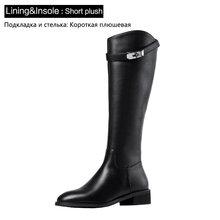 Donna-in Metal düğme doğal deri kadın diz yüksek çizmeler kış Med topuklar özlü Zip bayanlar diz üzerinde çizmeler beyaz siyah(China)