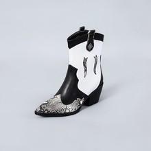 Snake Skin Pu Westerse Laarzen Vrouwen Cowboy Enkellaars Vrouwelijke Hoge Hakken Schoenen Dames Wees Teen Schoenen Vrouwen Winter Grote maat 45(China)