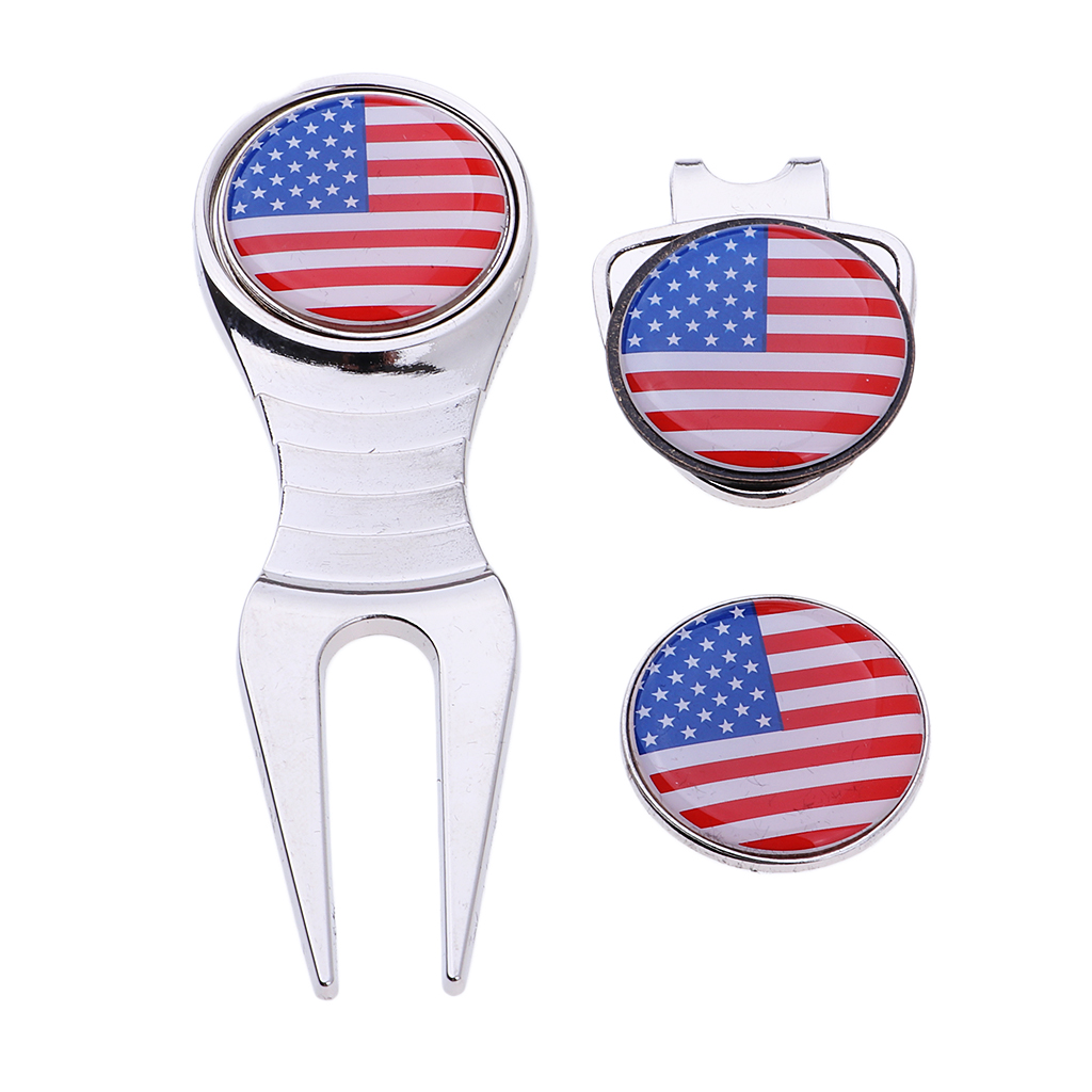 Outdoor Sports Portable Golf Hat Clip Clamp Golf Marker Divot Tool Parts Gift Set Golf Accessories