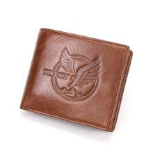 Contact's gratuit gravure 100% en cuir véritable hommes portefeuille petit porte-monnaie mâle porte-carte sacs d'argent portefeuille à trois volets portefeuilles(China)
