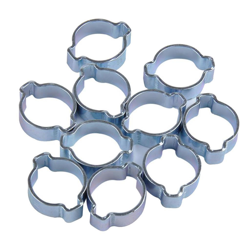 10x Double Hose Clip Metal Galvanised Ø 14//15mm