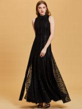 Женское плиссированное платье, черное винтажное платье с цветочным принтом и карманом А-силуэта для свадебной вечеринки, формальное платье...(China)