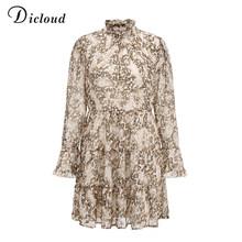 DICLOUD הדפס מנומר גבוהה צוואר שיפון שמלה לנשים 2020 אביב החורף ארוך שרוול מיני המפלגה שמלה סקסי בגדי נקבה(China)
