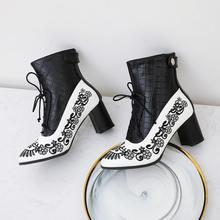 EGONERY/модные ботинки; зимние пикантные ботильоны с цветочным узором; женская обувь из искусственной кожи на высоком каблуке 7 см; цвет красный...(China)