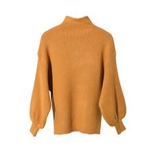 Deat 2020 nova outono e inverno gola alta lanterna mangas malha espessura pulôver camisola curta tricô roupas wj24112(China)