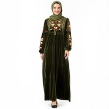 Siskakia velours longue robe décontracté ethnique à fleurs broderie Maxi robes manches longues hiver 2019 Swing arabe porte 26 couleurs(China)